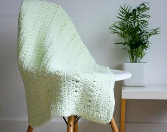 Pastel Green Crochet Baby Cot/Stroller/Pram Blanket