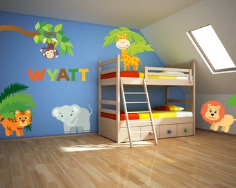Jungle Wall Art - Jungle Wall Decals - Jungle Animal Wall Decal - Jungle Theme Nursery - Name Wall Decal