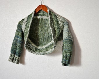 North Forest Shrug - Hand Knit Women's Sweater. One of a Kind Shrug from Soft Handspun Yarn in Pine and Kale Greens, Cream, Seafoam