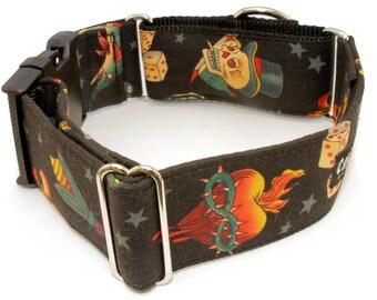 Dog Collar - Sacred Heart - Martingale & Buckle 1 - 2 Inch Width - Burning Heart, Skull, Dice