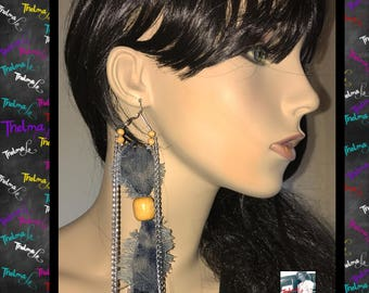 denim earrings,jean earrings,jean fringe,beaded earrings,chain earrings,handmade earrings,statement earrings