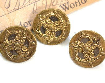 1890 Picture Buttons x 3 Large Brass
