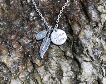 Rock Climber Necklace/ Rock Climber Jewelry/ Rock Climber Gift/ Climbing Necklace/ Sterling Silver Climber Necklace/ Asheville