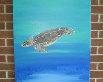 Sea Turtle Painting Large Sea Turtle Hand Painted Turtle Loggerhead Turtle Realistic Sea Turtle