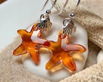 Swarovski Sunset Starfish Earrings ~ Sterling Silver