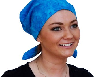 Sandra Scarf, A Women's Surgical Scrub Cap, Cancer Headwear, Chemo Head Scarf, Alopecia Hat, Head Wrap, Head Cover, Hair Loss - Turquoise