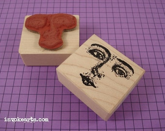 Small Looking Away Face Stamp / Invoke Arts Collage Rubber Stamps