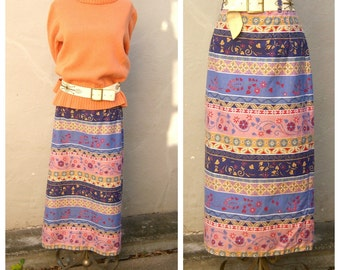 Vtg southwest skirt / floral denim skirt / long maxi skirt / high waisted boho skirt / womens medium 34 waist