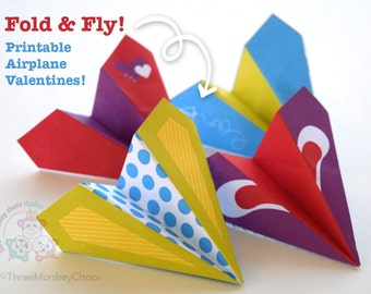 Printable Valentines | Paper Airplanes | Kids Valentines | Classroom Valentines Cards | Fold and Fly!