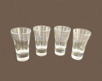 Set of 4 Vintage Shot Glasses, Bar Ware, Bar Decor, Bar Glasses, Serving Glasses, Glass Shot Glasses, Collectible, Shelf Decor, Kitchen Deco