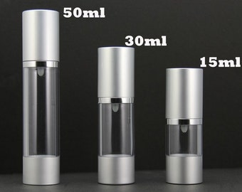 Free Shipping - Empty Airless Pump bottles Clear + Silver 15/30/50ml