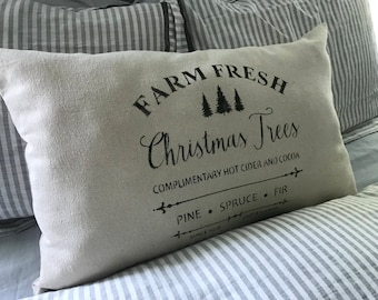 READY TO SHIP Vintage Painted Feedsack Oversized Lumbar Pillow - Farmhouse Pillow - French Provincial Style - French Country  - Fixer Upper