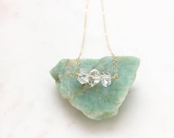 LIAM | Herkimer Diamond Necklace | Triple Herkimer Necklace | Gold Wire Wrapped Herkimer Diamond Necklace | Herkimer Pendant | Gold Filled