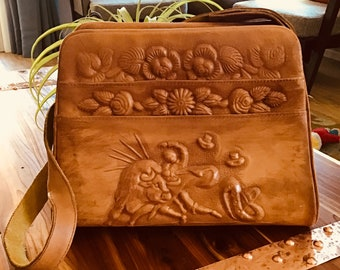 Shoulder bag purse, Vintage tooled leather purse made in mexico