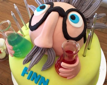 Mad Scientist Head Cake Topper