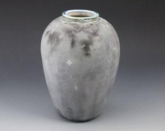 """Retro Vase - Crystalline Glaze - """"Grey Ghost"""""""