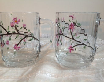 Mugs or cup coffee or tea glass pink cherry blossoms hand painted