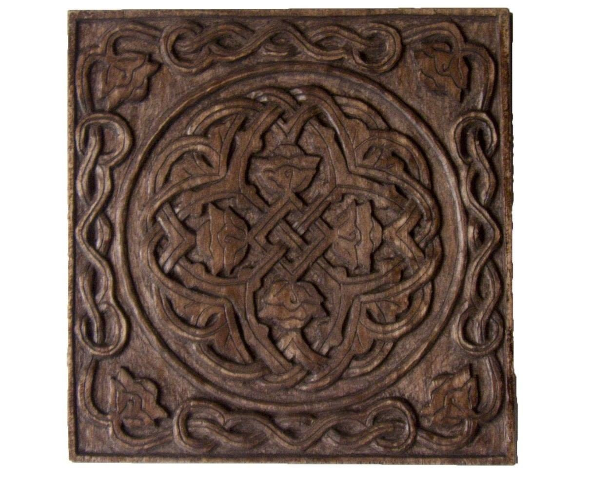 Flowers carved box artistic wood carving plain relief wood