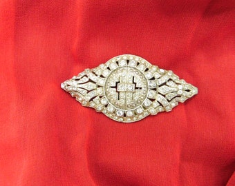 Vintage Large Rhinestone Brooch / Pin Early 1900's