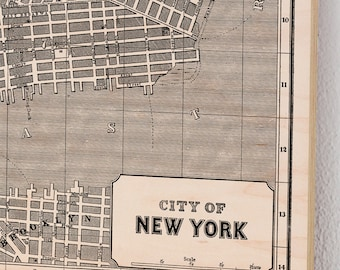 New York City, Wood Print Map, Vintage Home Decor, Map Art