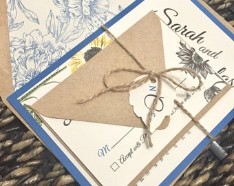 Blue and Kraft Sunflower Wedding Invitation (not a sample listing) - Colors/wording/materials Customizable- Navy Blue, Sapphire