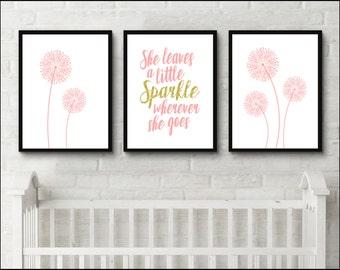 Dandelion print dorm decor set She leaves a little sparkle wherever she goes pink nursery set of 3 prints gold glitter Wall Art