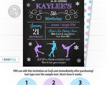 Ice Skating Invitation - Ice Skating Party Invitations - Ice Skating Birthday Invitation - Ice Skate Party - Figure Skating - Arctic Party