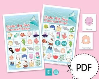 Under the Sea Mermaid Bingo Game Kit–Printable PDF Download