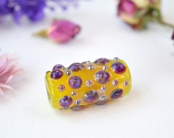 Yellow tube bead, bumpy focal bead, lampwork tube, murano glass bead, murano tube, sra lampwork, long glass bead, yellow and purple