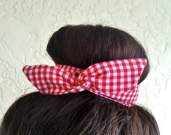 Bun Wrap Top Knot Wire Wrap Red Gingham