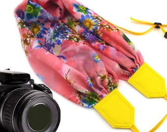 Pink scarf camera strap. Colorful flowers camera strap DSLR. Pink Yellow Camera Strap. Gift for her by InTePro