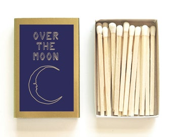 Over the Moon Matchbox. Starry Night Decor. Unique Celestial Gift. My Moon and Stars. Wedding Matches. Stargazing Party. Light a Lunar Spark