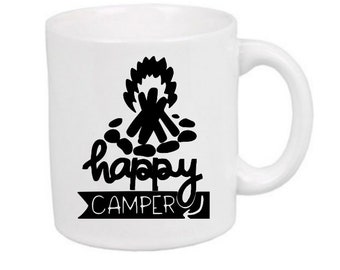 Happy Camper Camping Funny Mug Coffee Cup Gift Home Decor Kitchen Bar Gift for Her Him Any Color Personalized Custom Jenuine Crafts