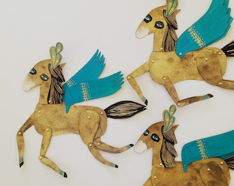 Jitterbug/ Winged Gold, Black, Aqua and Plumed Horse Articulated Decoration  / Hinged Beasts Series