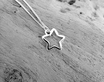 Sterling silver shooting star charm necklace