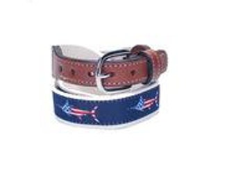 USA Marlin Fish Belt  Cotton Web belt with Leather Ends/solid brass buckle