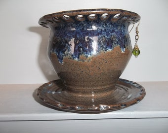 Blue Ceramic Pottery Earring Holder Jewelry Organizer Bowl Handmade with Brown Stoneware Clay.