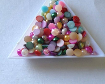 6mm  x 100 flat back pearls resin crafts scrap booking card making crafts frames decorating cabochon
