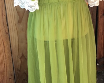 Vintage 1950s 1960s Green Double Nylon Lace Nightgown