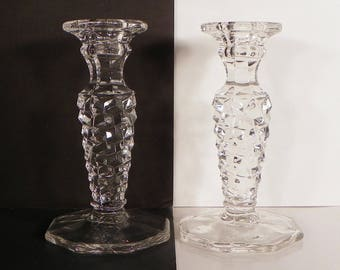 Fostoria American Octagon Base Single Light Candlestick Glass Holder PAIR OF TWO