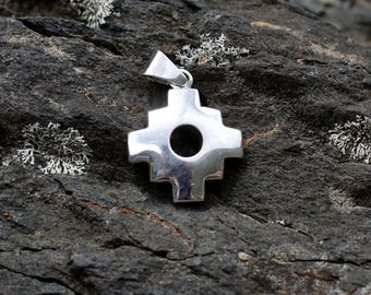 Silver Chakana - Inca Cross Silver Pendant - Peruvian Handmade Silver Pendant - Silver Jewelry - Inca Symbol Jewelry - Peruvian Jewelry