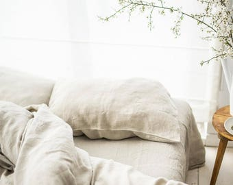 Linen Fitted Sheet, stonewashed linen, softened linen bedding, bed sheet, natural color, organic bedding, eco friendly