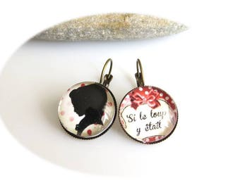 """Earrings cabochon """"If the Wolf was here"""""""