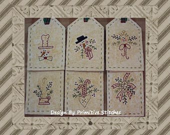 Wintertime Mini Collection 1-Primitive Stitchery Pattern by Primitive Stitches-Instant Download