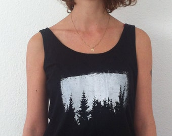 Women Black top Trees, trees top, forest top, grunge, Minimal shirt, Womens graphic Tee