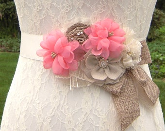 Coral Flower Sash Belt, Rustic Coral Wedding Dress Sash Belt with Burlap-Look Bow, Lace, Rhinestones and Pearls, Country Wedding Sash-RB0224
