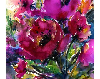 "Pink Poppy Flower Watercolor Painting - Floral art archival print from original painting ""Jubilation""  by Kathy Morton Stanion EBSQ"