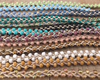 Tie On - Double Bead Friendship Fringe Anklets - 16 Colors - Kids to Adult Sizes