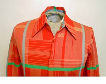 Vintage Men's Nik Nik 1970's Pink Red Geometric Abstract Plaid Tapered Designer Disco Shirt Button Up Size Small!