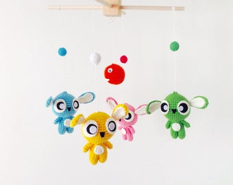 Stitch Baby Mobile, Crochet Stitch Baby Mobile, Stitch Baby Mobile Hanger, Crochet Stitch Baby Mobile, Baby Mobile,